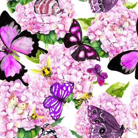 Photo pour Pink hydrangea flowers, butterflies, bees. Seamless floral pattern. Watercolor. - image libre de droit