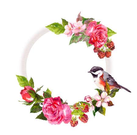 Photo pour Vintage floral wreath for wedding card. Flowers, roses, berries, bird. Watercolor round frame for save date text - image libre de droit