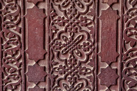 Details of marble surface with stone inlay in Agra India