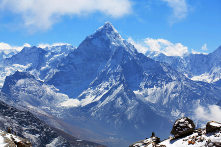Ama Dablam peak in Sagarmatha National park, Everest region, Eastern Nepal. Ama Dablam 6858 m is one of the most spectacular mountains in the world and a true alpinists dream.