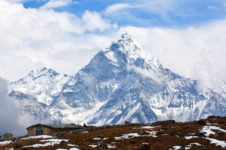 Ama Dablam Mount - view from Cho La pass, Sagarmatha National park, Everest region, Nepal. Ama Dablam 6858 m is one of the most spectacular mountains in the world and a true alpinists dream