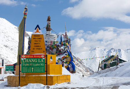 Chang La pass in Ladakh, India. Chang La is the main gateway to the Changthang Plateau located in Indian Himalaya. It has an elevation of around 5,360 m. and lies on the way to Pangong Lake from Leh.