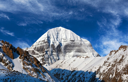 Panorama of sacred mount Kailash (elevation 6638 m), which are part of the Transhimalaya in Tibet. It is considered a sacred place in four religions: Bon, Buddhism, Hinduism and Jainism.