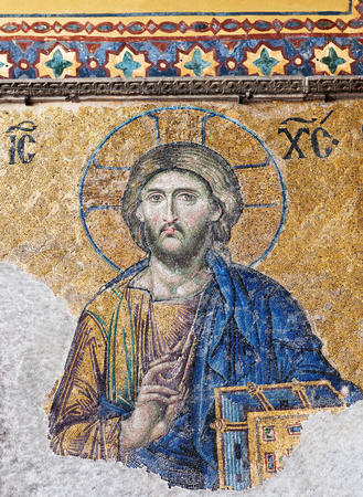 Deesis - ancient Byzantine mosaic in Hagia Sophia church, showing the Judgment day with Jesus Christ. the Deesis mosaic probably dates from 1261.