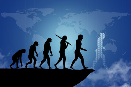 Foto de Human evolution into the present digital world. Human evolution of man  people from monkey to modern man and digital man going towards the end of the cliff. Ending an era or it can be as a risk to end a business project  company. Behind is the map of the  - Imagen libre de derechos