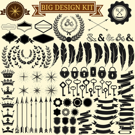 Illustration pour Big vintage design kit  Collection of 100 vector calligraphic icons for retro design, vintage frames, feathers, wreathes, keys, locks, stars, banners  Vector illustration  - image libre de droit