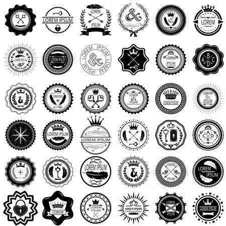 Illustration for Set of 36 vintage round labels  Vector illustration  - Royalty Free Image