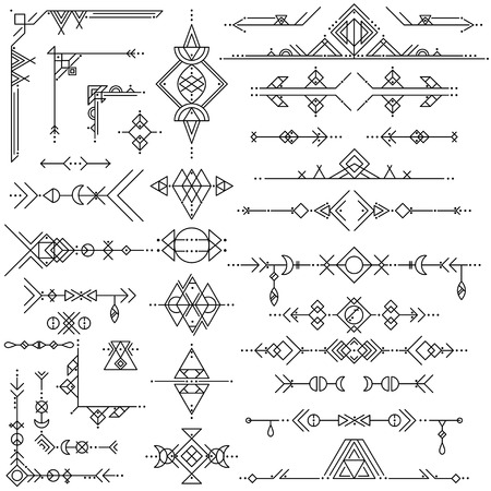 Illustration for Collection of vector geometric line art design elements. Tribal style. - Royalty Free Image