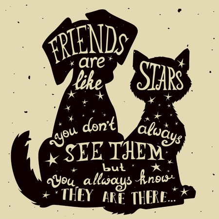 Illustration for Cat and dog friends grungy card for Friendship Day with quote. Lettering greeting cards for all holidays series. - Royalty Free Image