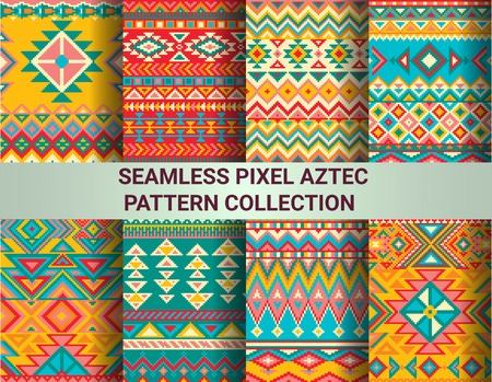 Illustration for Collection of bright seamless pixel patterns in tribal style. Aztec geometric triangle and chevron patterns. Pantone colors. - Royalty Free Image