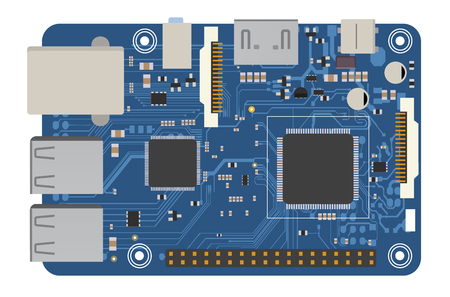 Illustration for DIY electronic mega board with a microprocessor, interfaces, LEDs, connectors, and other electronic components, to form the basic of smart home, robotic, and many other projects related to electronics - Royalty Free Image