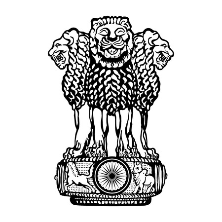 Illustration for Emblem of India. Black and white. - Royalty Free Image