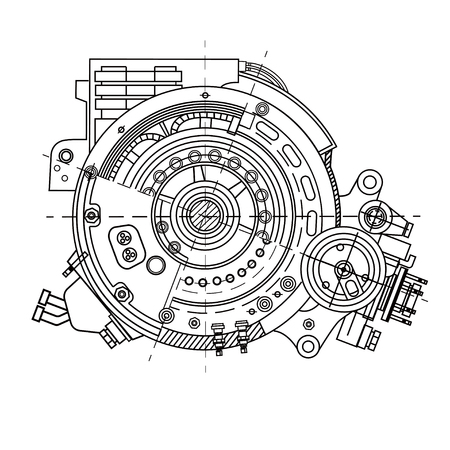 Ilustración de Electric motor section representing the internal structure - Imagen libre de derechos