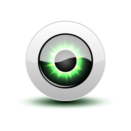 Illustration for Green eye icon with shadow on white. - Royalty Free Image