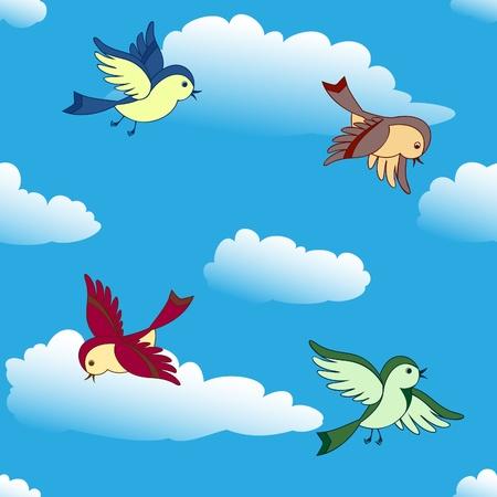 Illustration pour birds flying in blue sky seamless background - image libre de droit