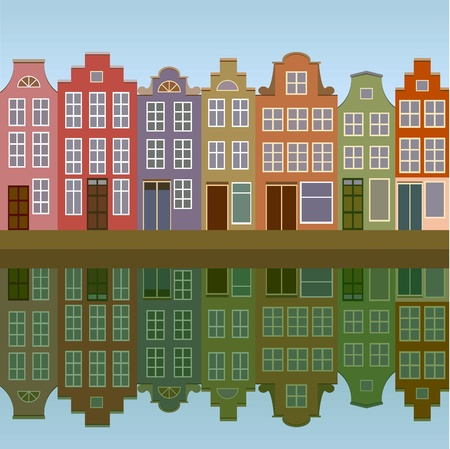 Amsterdam houses on the canal bank seamless