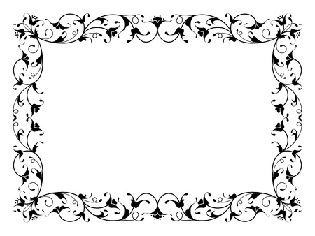 Illustration pour oriental floral ornamental deco black frame pattern isolated - image libre de droit