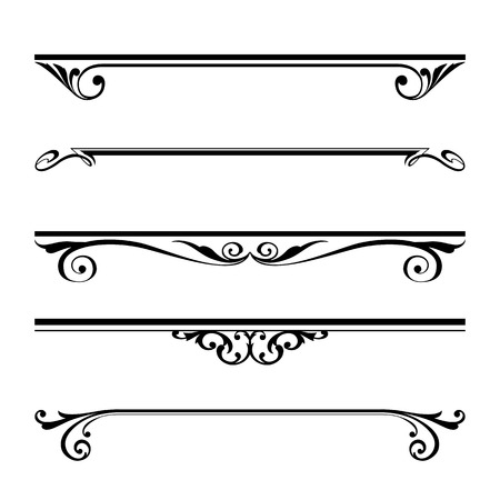 Illustration pour Vector set of decorative elements, border and page rules frame - image libre de droit
