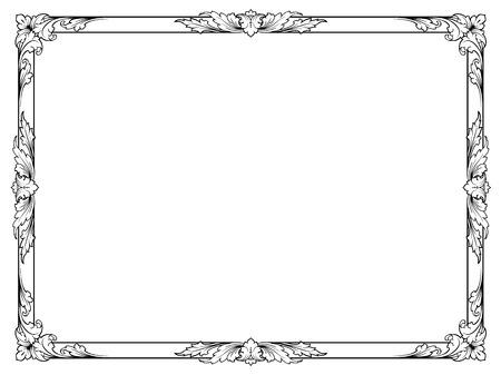 Ilustración de calligraphy penmanship curly baroque frame black isolated - Imagen libre de derechos