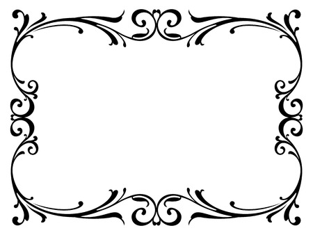Illustration pour calligraphy penmanship curly baroque frame black isolated - image libre de droit