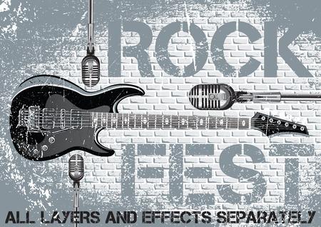 Illustration pour Rock festival design template with guitar microphone - image libre de droit