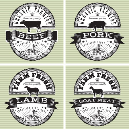 Illustration for icons on vintage background pig, cow, sheep, goat - Royalty Free Image
