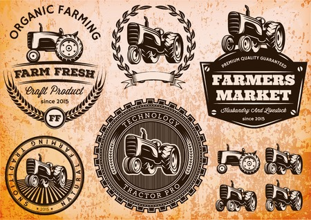 Illustration pour set of vector labels with a tractor for livestock and crop - image libre de droit