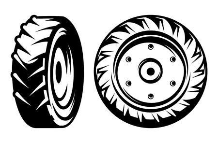 Illustration pour vector set of monochromatic tractor wheels of different kinds - image libre de droit