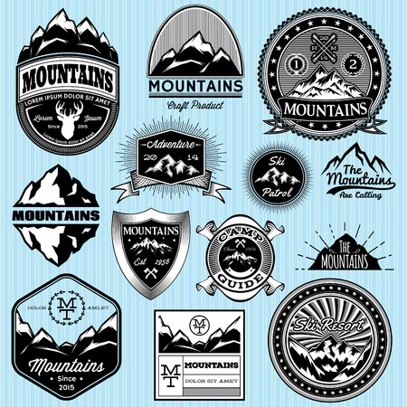Illustration pour set of vector templates for emblems with different mountains - image libre de droit