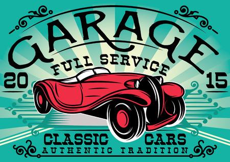 Ilustración de stylish retro poster with a car for the service station - Imagen libre de derechos