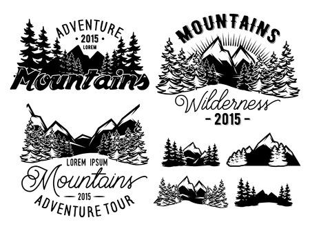Illustration pour Set of monochrome patterns landscape with mountains and fir forest - image libre de droit