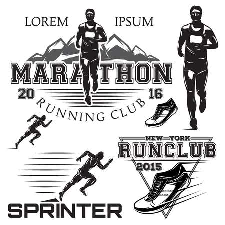 set of black and white sports emblems for the sprint and marathon