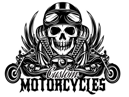 Illustration pour vector monochrome image on a motorcycle theme with skulls, motorcycles, wings, engine - image libre de droit