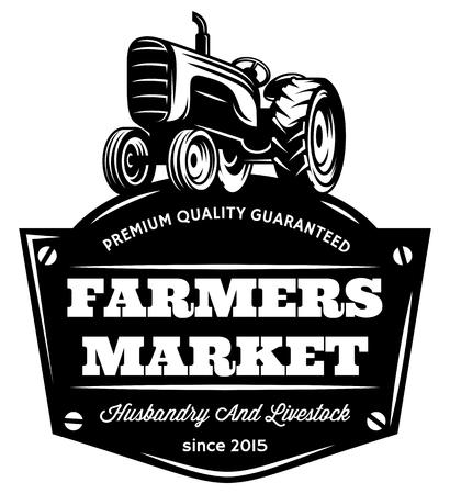Illustration pour Vector monochrome pattern with vintage tractor on field. - image libre de droit