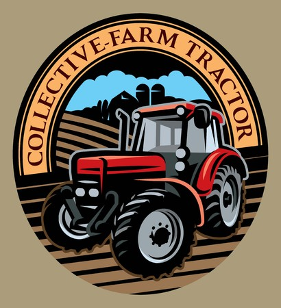 Illustration pour colored vector tractor pattern on the field on farm background. - image libre de droit