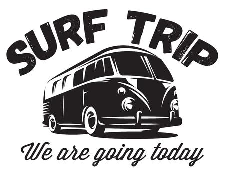 Illustration pour monochrome vector badge with a bus for traveling to the ocean. - image libre de droit