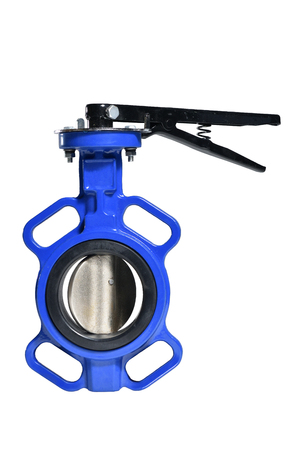 Photo pour Butterfly valve isolated on white background.Manual valve. Close up - image libre de droit