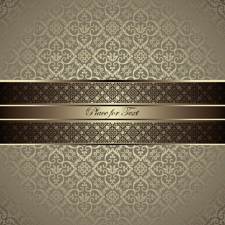 Illustration for Vintage card with a border on seamless damask wallpaper - Royalty Free Image