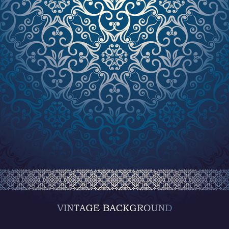 Illustration pour Vintage Card with damask background, luxury blue design - image libre de droit