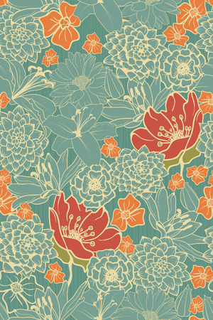 Illustration for Seamless Floral Pattern With Red Flowers On Monochrome Background  - Royalty Free Image