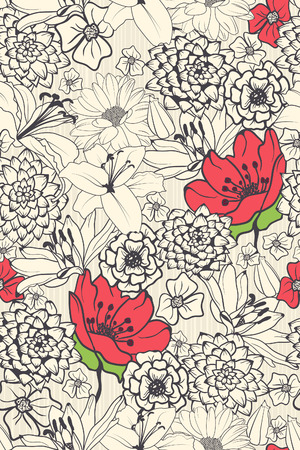 Illustration pour Seamless Floral Pattern With Red Flowers On Monochrome Background  - image libre de droit
