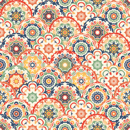 Ilustración de Seamless abstract pattern of trendy colored abstract floral circles. Can be used for wallpaper, surface textures, textile etc. - Imagen libre de derechos