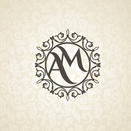 Illustration pour Modern monogram, emblem, logo design template. Vector frame, seamless beige floral background - image libre de droit