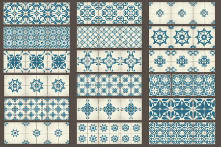 Illustration pour Set-2 of 18 Classic seamless Templates of Moroccan tiles, ornaments for kitchen, blue STYLE - image libre de droit