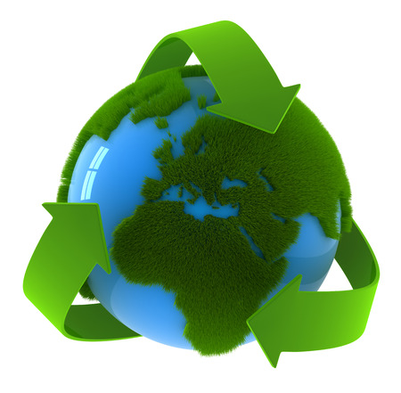 Photo for Globe and recycle symbol , This is a computer generated and 3d rendered image. - Royalty Free Image