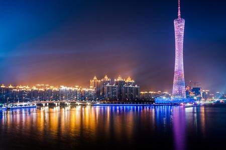 Photo pour Zhujiang River and modern building of financial district at night in guangzhou china. - image libre de droit