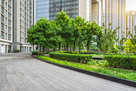 Photo for empty pavement and modern buildings in city - Royalty Free Image