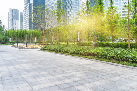 Photo for green park front of office builsings,shanghai china. - Royalty Free Image