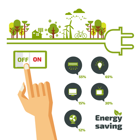 Ilustración de Savings concept, switch off, energy concept, idea abstract infographic layout, vector illustration - Imagen libre de derechos