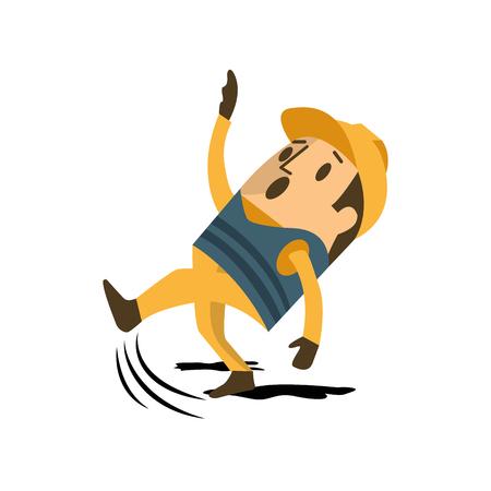 Ilustración de Construction engineer architect worker slipping on grease. - Imagen libre de derechos